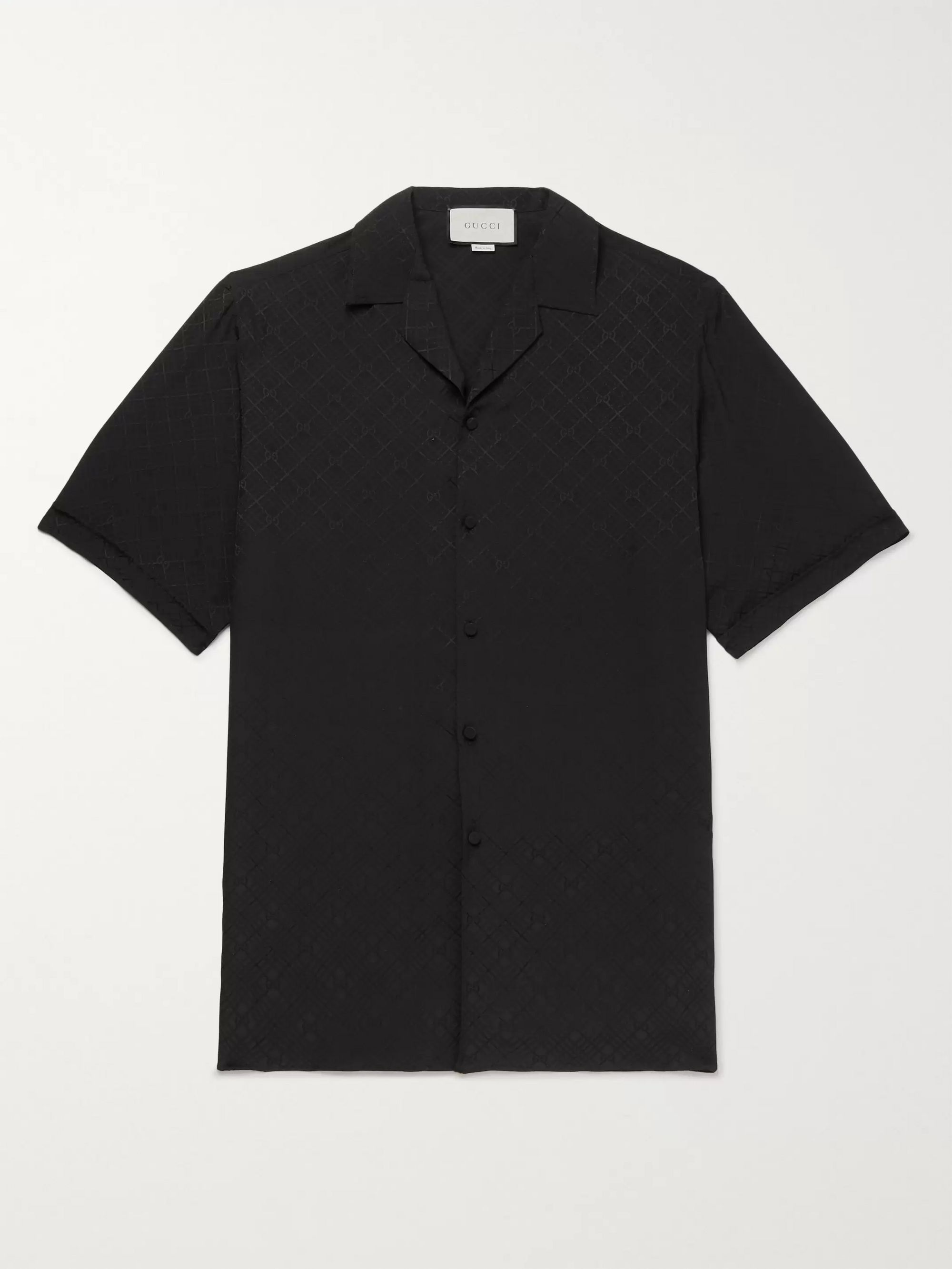 Gucci Camp-Collar Logo-Jacquard Checked Silk-Crepe Shirt