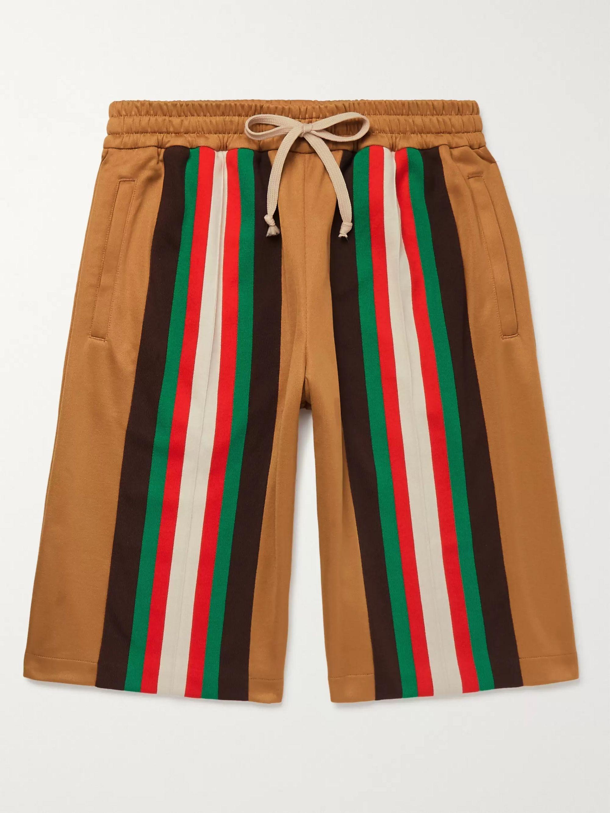 구찌 Gucci Wide-Leg Striped Webbing-Trimmed Tech-Jersey Shorts,Camel