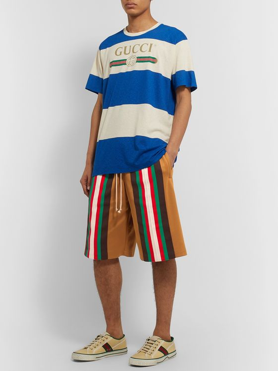 Gucci Wide-Leg Striped Webbing-Trimmed Tech-Jersey Shorts