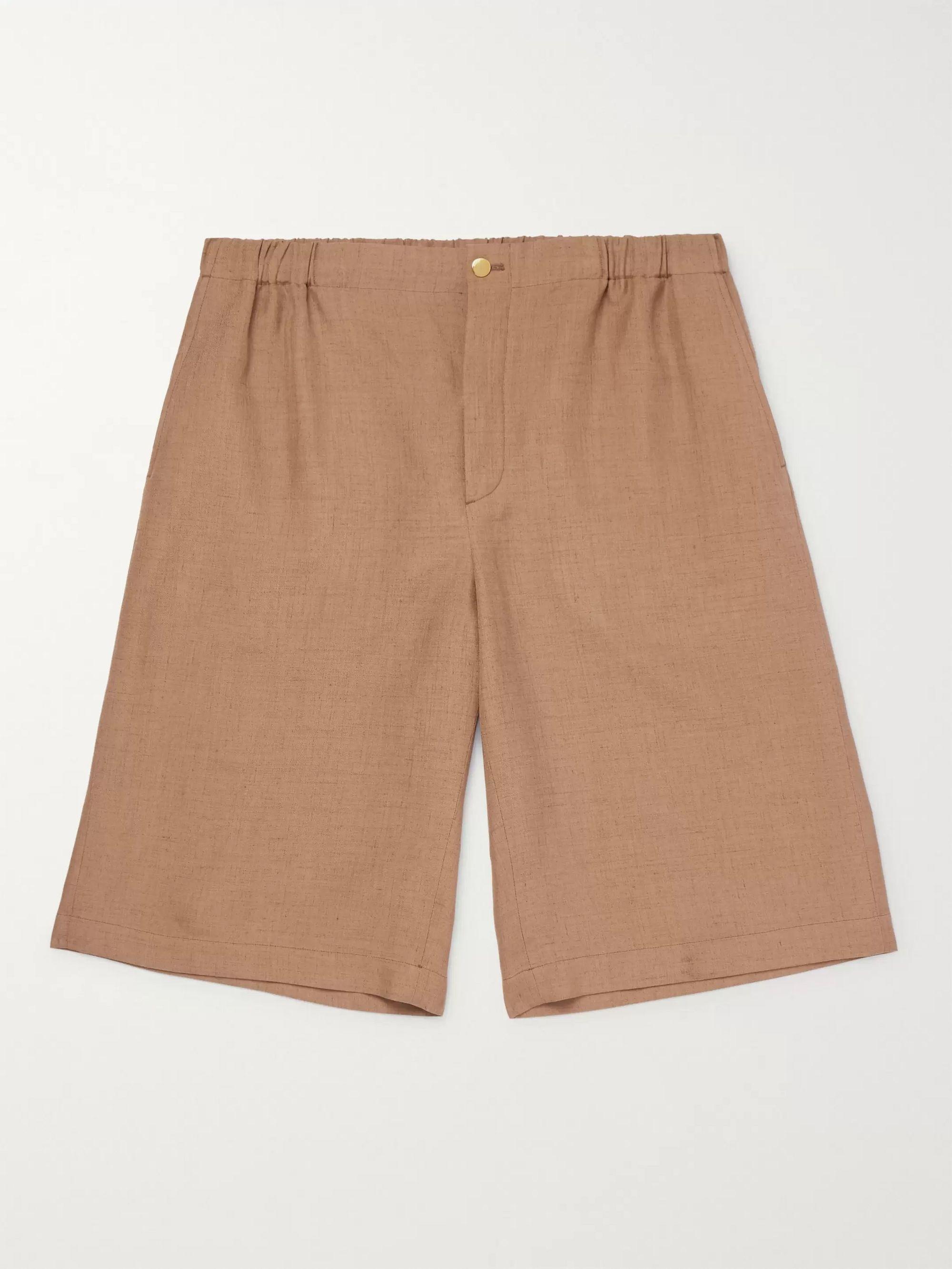 구찌 Gucci Wide-Leg Appliqued Hopsack Shorts,Brown