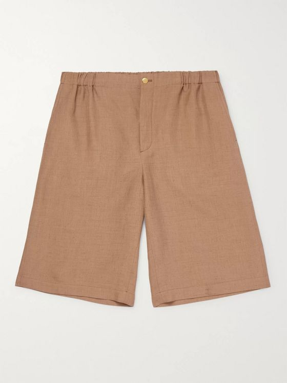 Gucci Wide-Leg Appliquéd Hopsack Shorts
