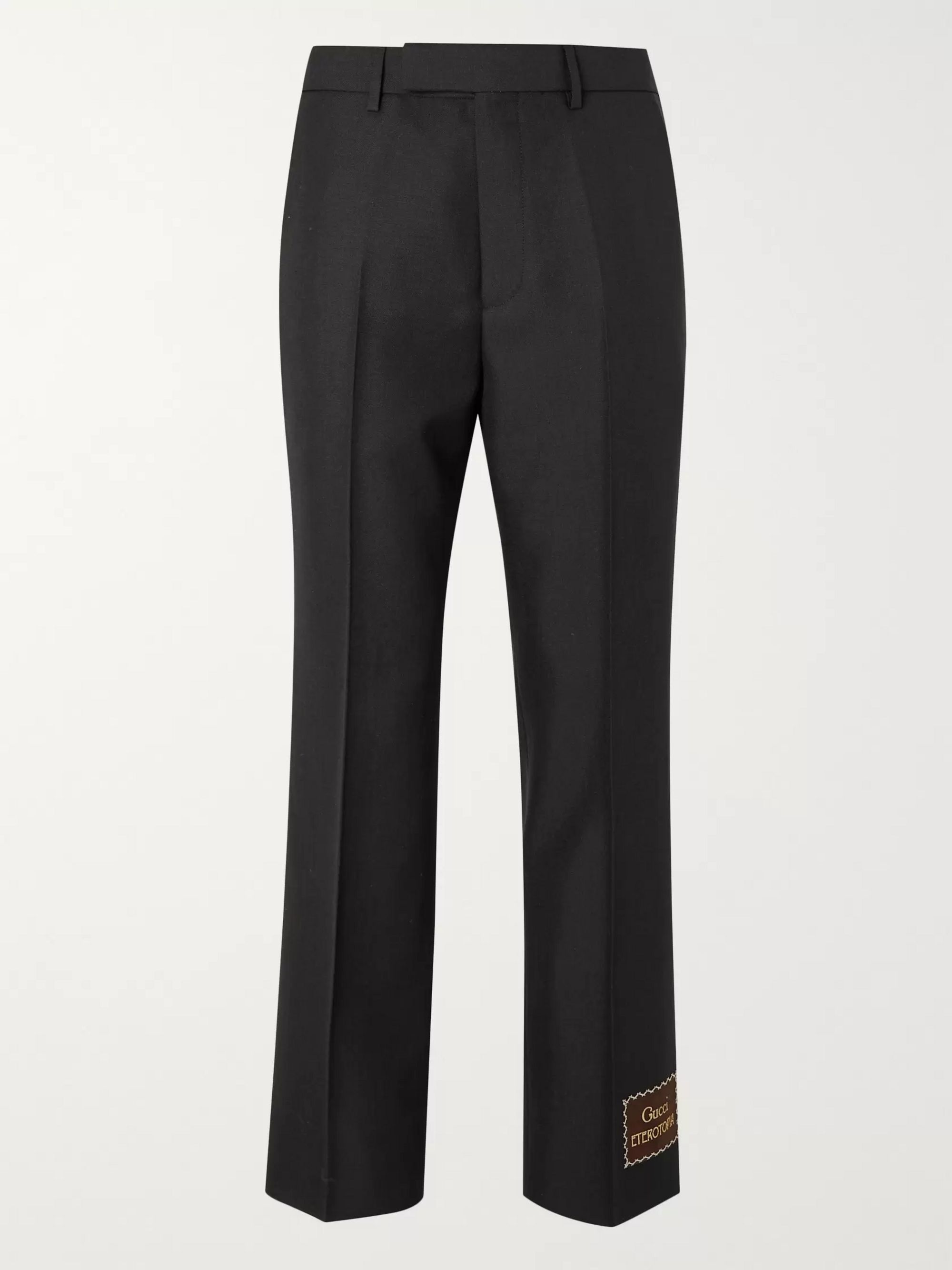 Gucci Cropped Flared Logo-Appliquéd Wool and Mohair-Blend Trousers