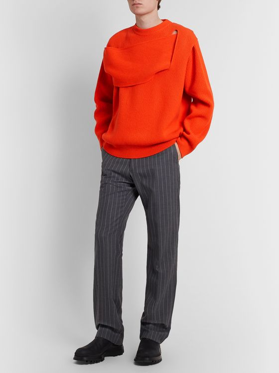 Bottega Veneta Panelled Ribbed Cashmere-Blend Sweater