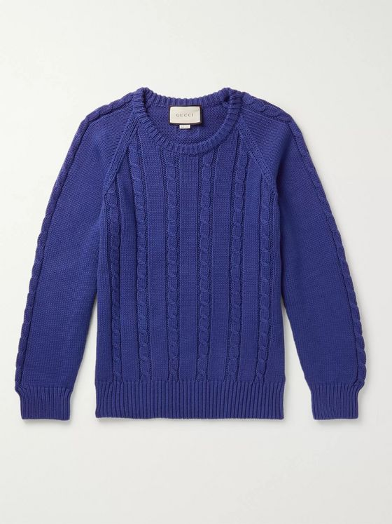 Gucci Embroidered Cable-Knit Cotton Sweater