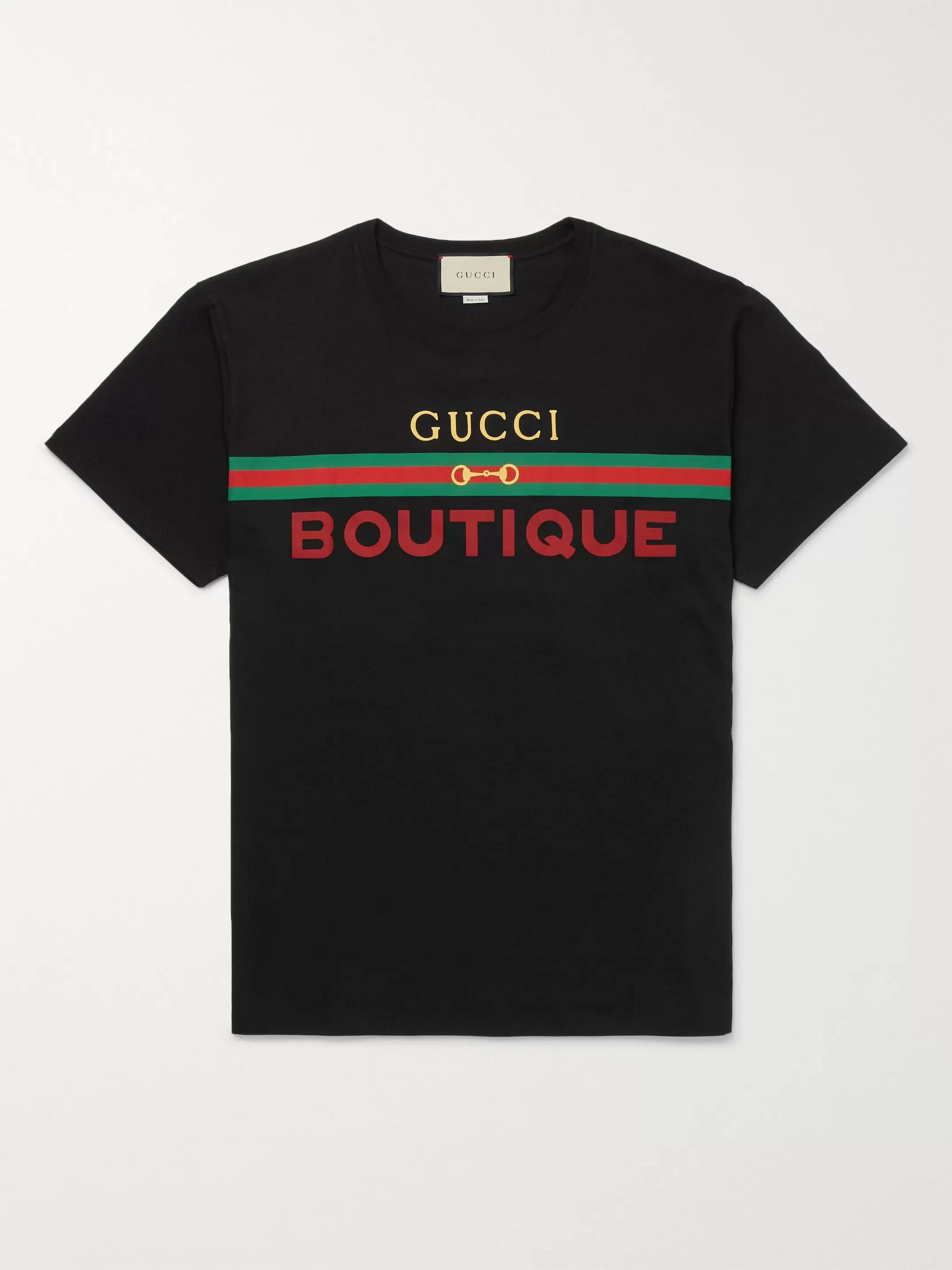 구찌 Gucci Logo-Print Cotton-Jersey T-Shirt,Black