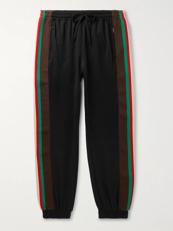Gucci Webbing-Trimmed Tech-Jersey Track Pants