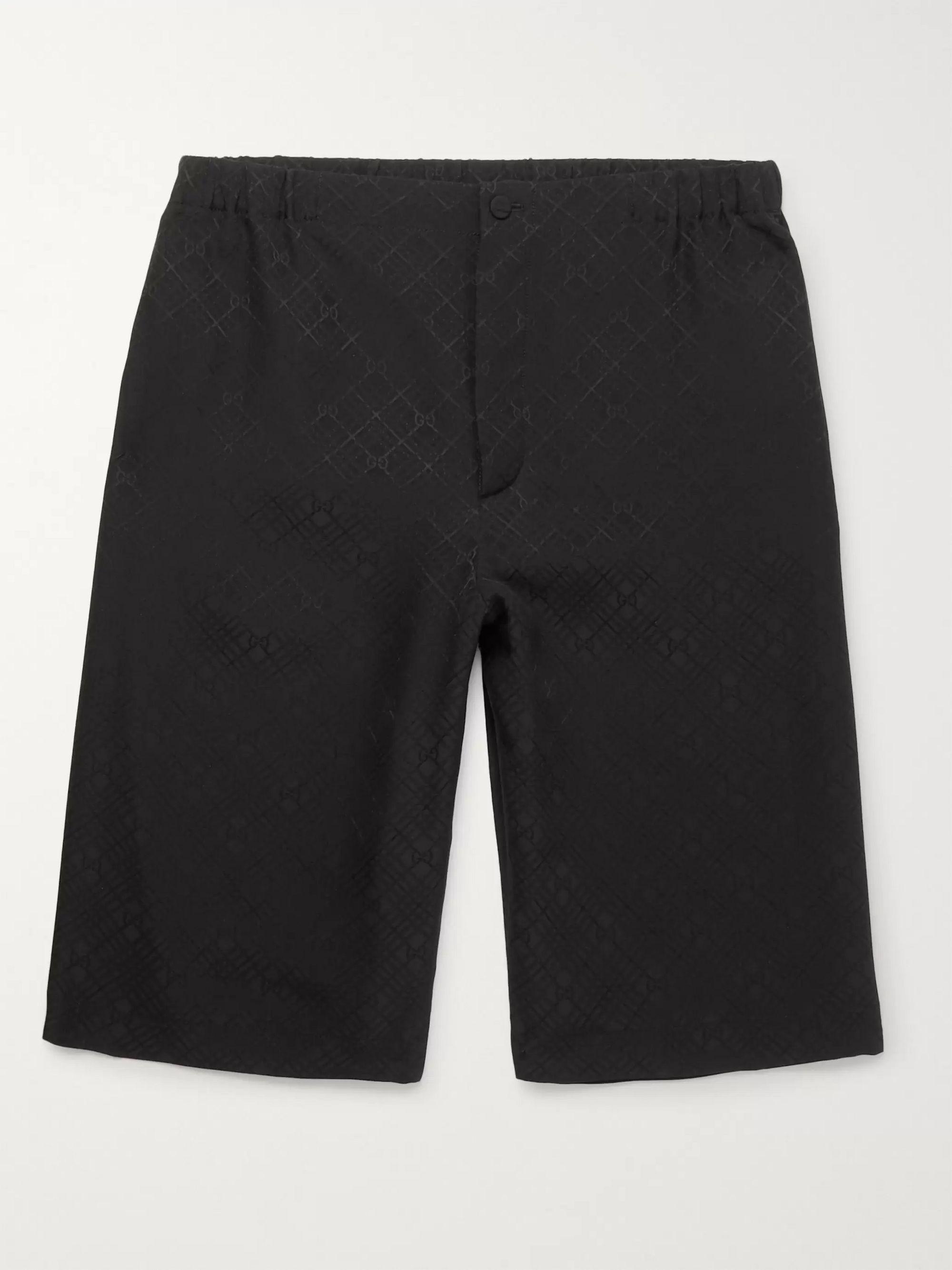 구찌 Gucci Wide-Leg Logo-Jacquard Checked Silk-Crepe Shorts,Black