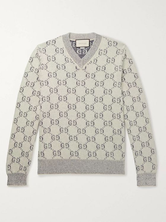 Gucci Logo-Jacquard Cotton Sweater
