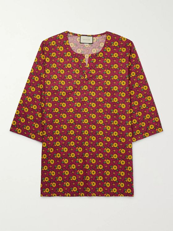 Gucci Floral-Print Cotton-Muslin Tunic