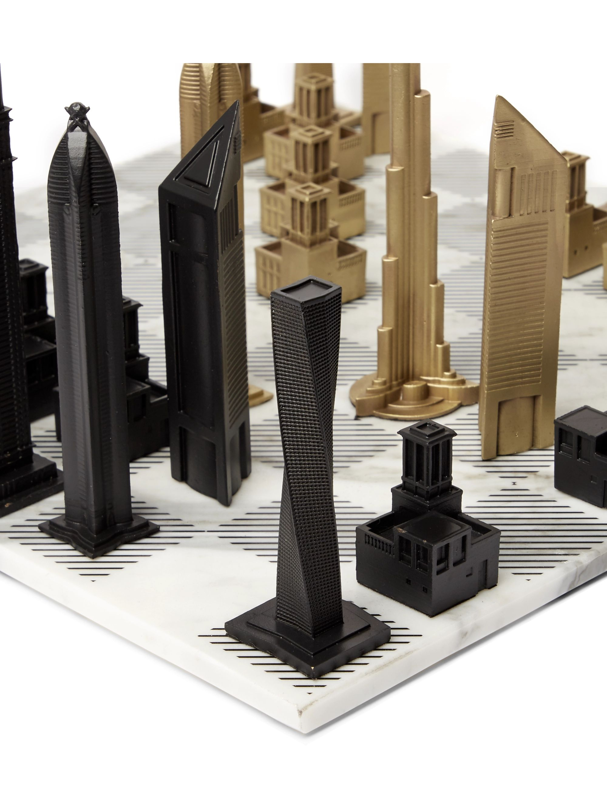 Skyline Chess Dubai Marble and Bronze Chess Set