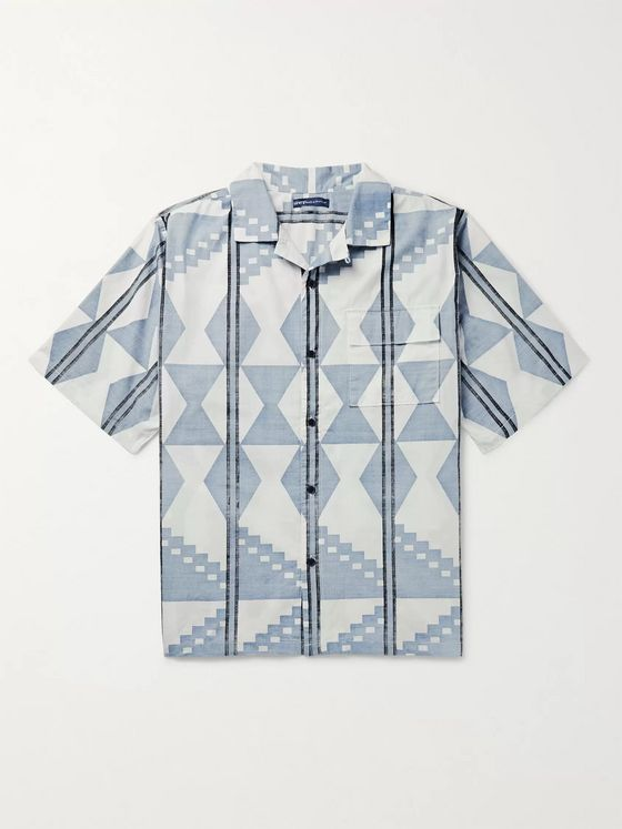 Levi's® Made & Crafted® Camp-Collar Printed Cotton-Chambray Shirt