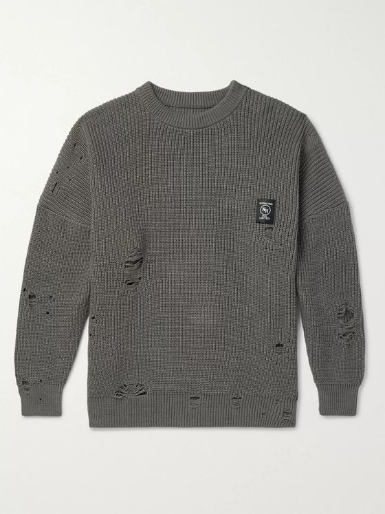 Neighborhood Savage Distressed Ribbed Cotton-Blend Sweater
