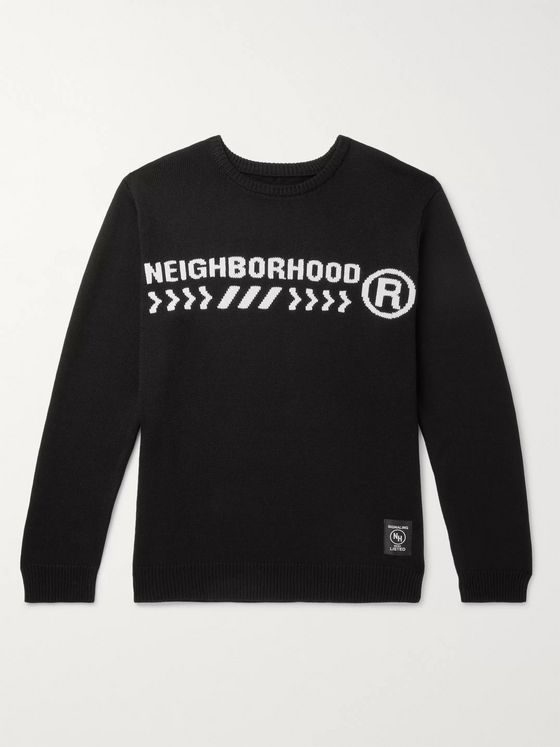 Neighborhood Electro Logo-Intarsia Cotton-Blend Sweater