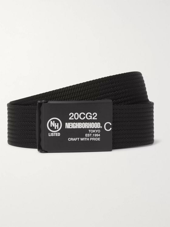 Neighborhood 3cm Logo-Print Webbing Belt