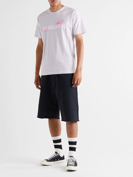 Neighborhood Logo-Print Mélange Cotton-Jersey T-Shirt