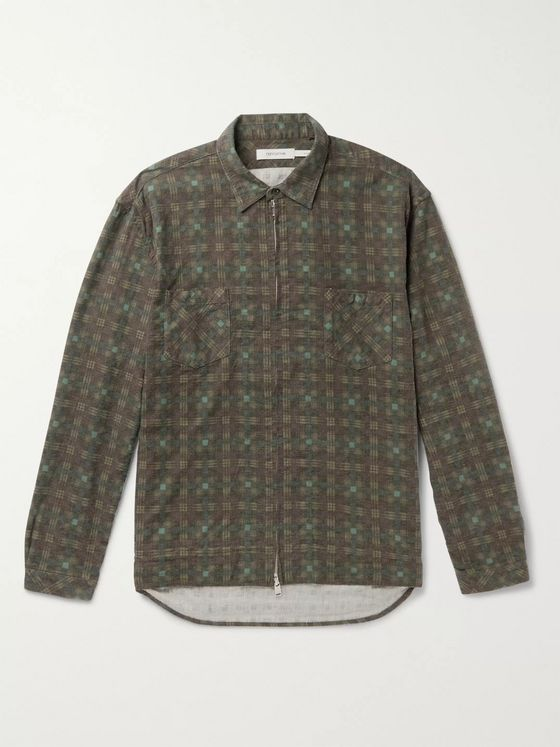 nonnative Checked Cotton-Flannel Zip-Up Overshirt