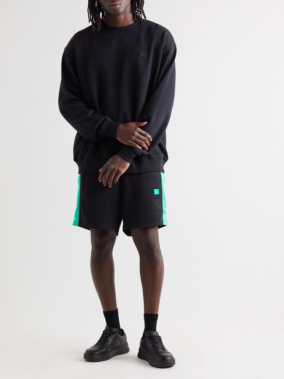 Acne Studios Logo-Appliquéd Striped Tech-Jersey Shorts
