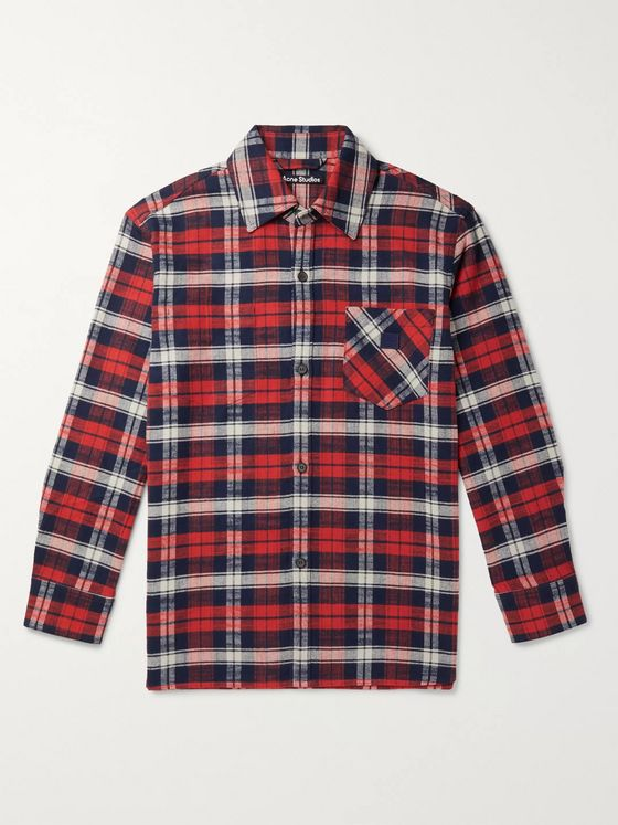 Acne Studios Oversized Checked Cotton-Flannel Overshirt