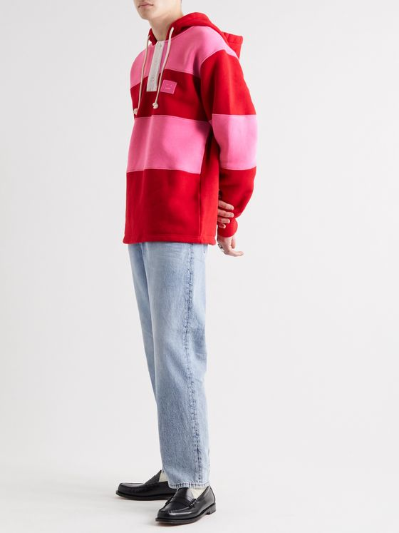 Acne Studios Oversized Logo-Appliquéd Striped Fleece-Back Cotton-Jersey Hoodie