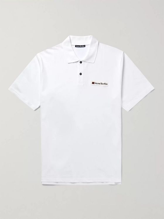 Acne Studios Logo-Appliquéd Cotton-Piqué Polo Shirt