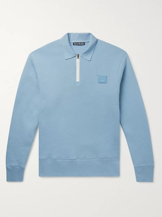 Acne Studios Logo-Appliquéd Loopback Cotton-Jersey Half-Zip Sweater