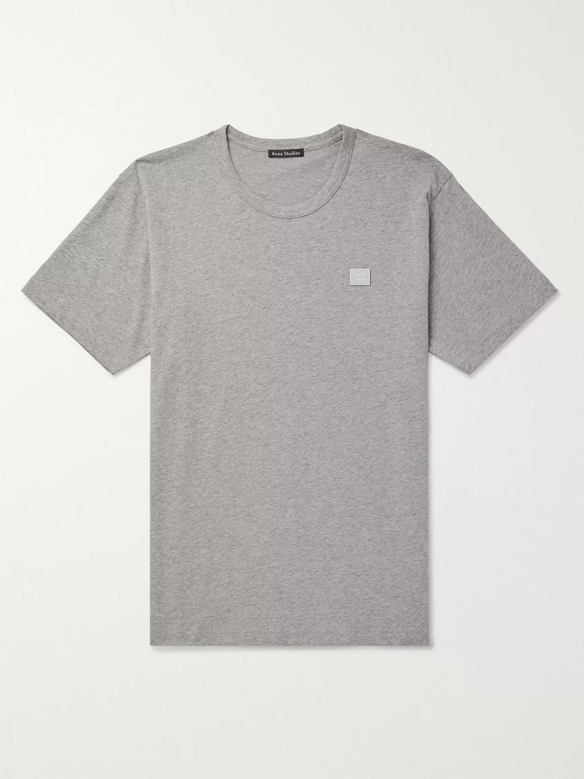 acne studios - nash logo-appliquã©d mã©lange cotton-jersey t-shirt - men - gray