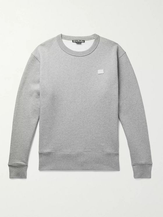 ACNE STUDIOS Fairview Logo-Appliquéd Mélange Fleece-Back Cotton-Jersey Sweatshirt