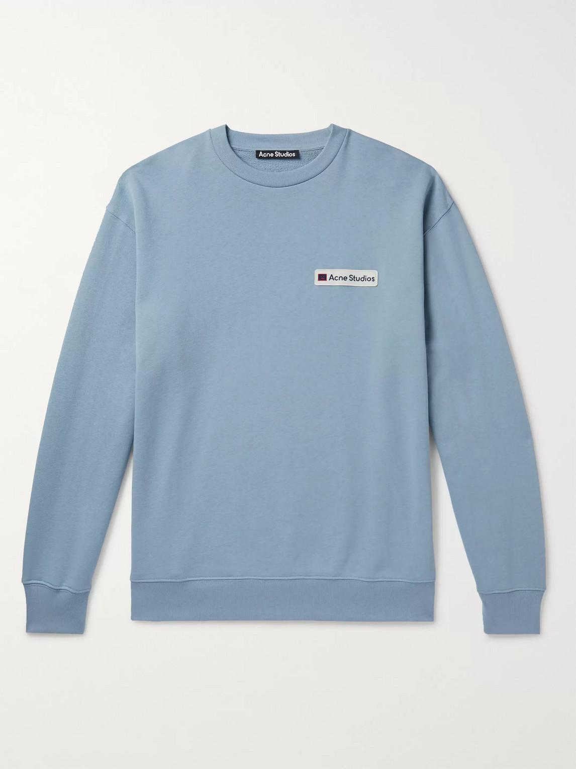 acne studios - logo-appliquã©d loopback cotton-jersey sweatshirt - men - blue