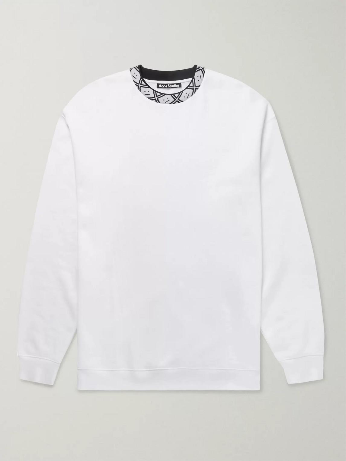 Acne Studios Future Oversized Logo-appliquéd Fleece-back Jersey Sweatshirt In White