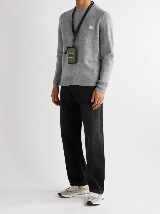 ACNE STUDIOS Kalon Logo-Appliquéd Mélange Wool Sweater