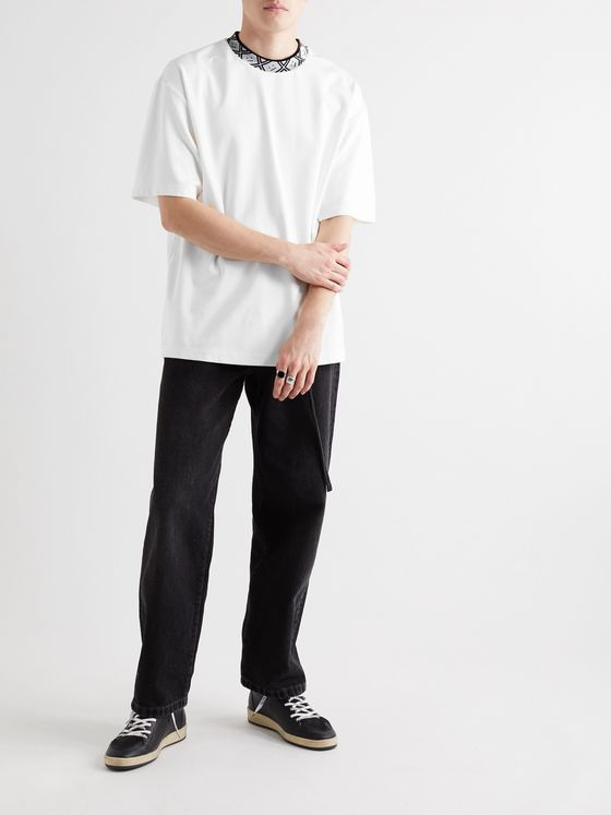 Acne Studios Oversized Jacquard-Trimmed Stretch-Jersey T-Shirt