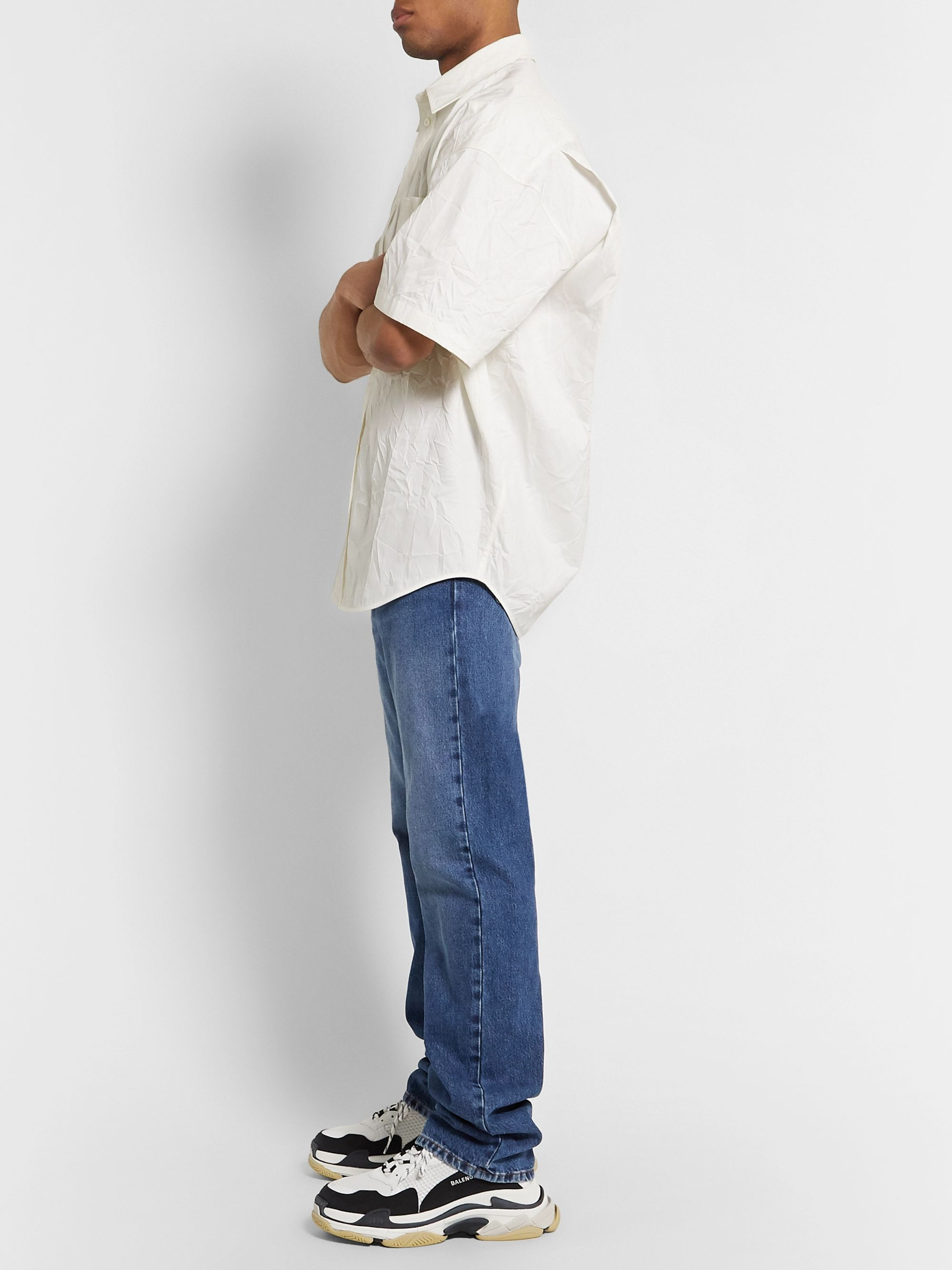 Balenciaga Cocoon Oversized Logo-Embroidered Crinkled Cotton-Poplin Shirt
