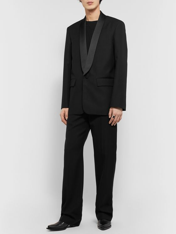 BALENCIAGA Shawl-Collar Satin-Trimmed Wool-Twill Tuxedo Jacket