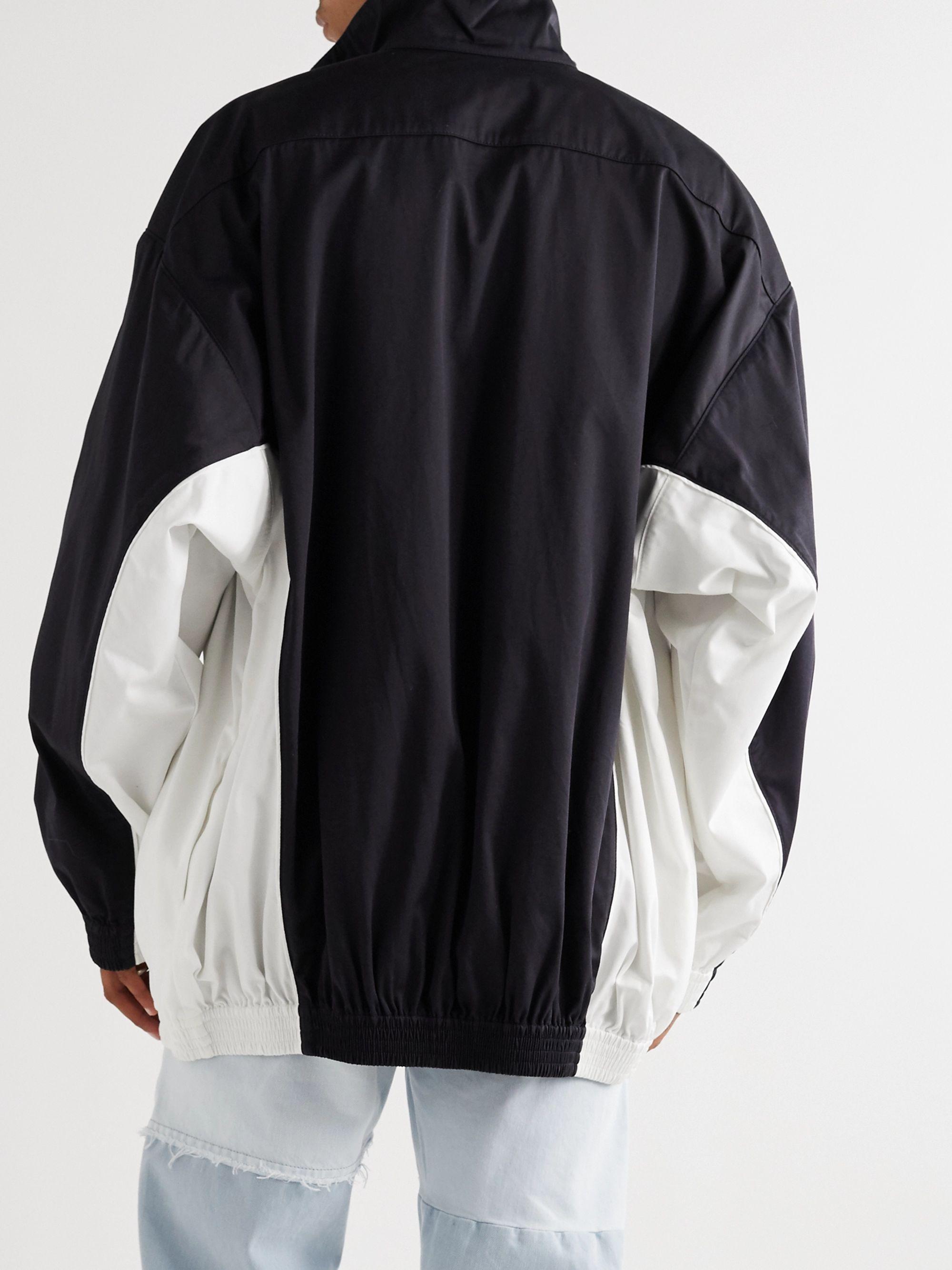 Navy Colour-block Logo-print Cotton-poplin Track Jacket | Balenciaga