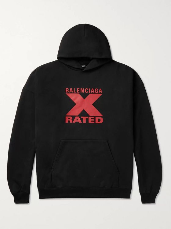 Balenciaga Oversized Printed Fleece-Back Cotton-Jersey Hoodie