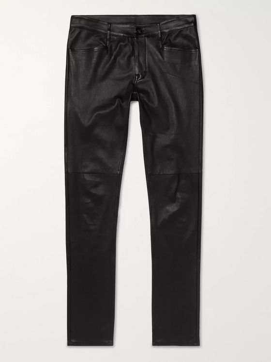 Rick Owens Tyrone Skinny-Fit Stretch Leather and Cotton-Blend Trousers