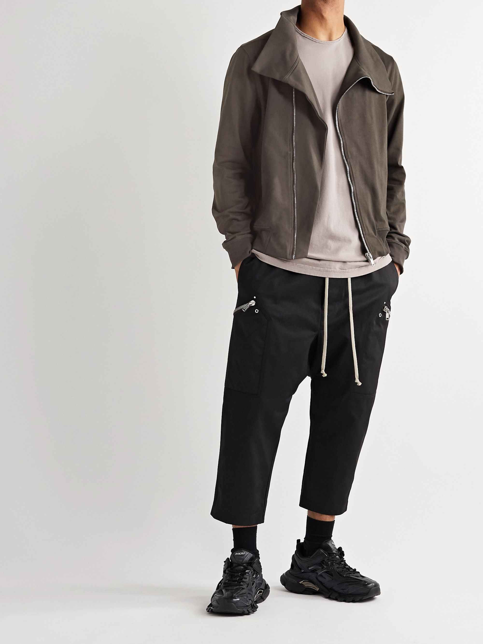 Rick Owens Slim-Fit Cotton-Jersey Zip-Up Sweatshirt