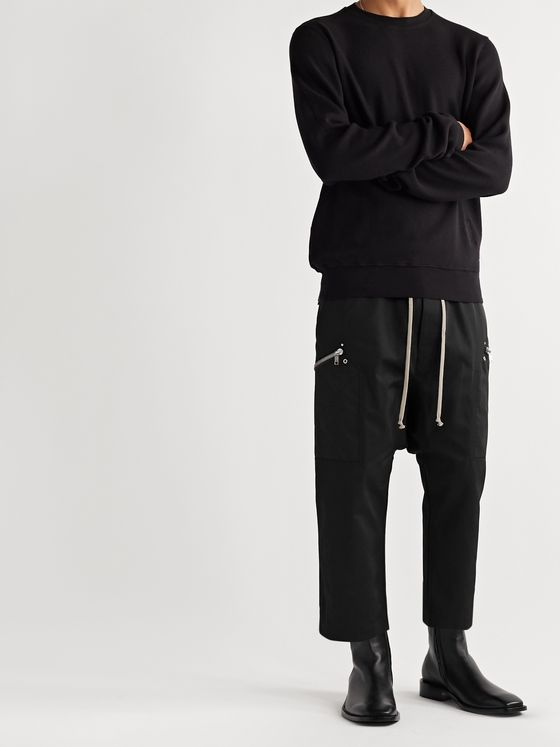 Rick Owens Cropped Twill Drawstring Trousers
