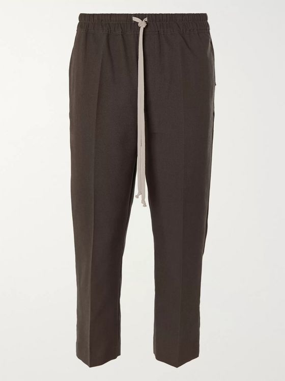 Rick Owens Astaires Slim-Fit Cropped Canvas Drawstring Trousers