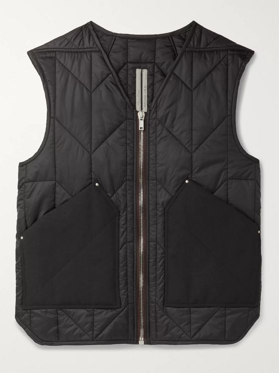 Rick Owens Slim-Fit Canvas-Trimmed Quilted Padded Shell Gilet