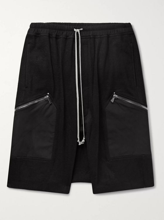 Rick Owens Pods Cotton and Wool-Blend Flannel Drawstring Shorts