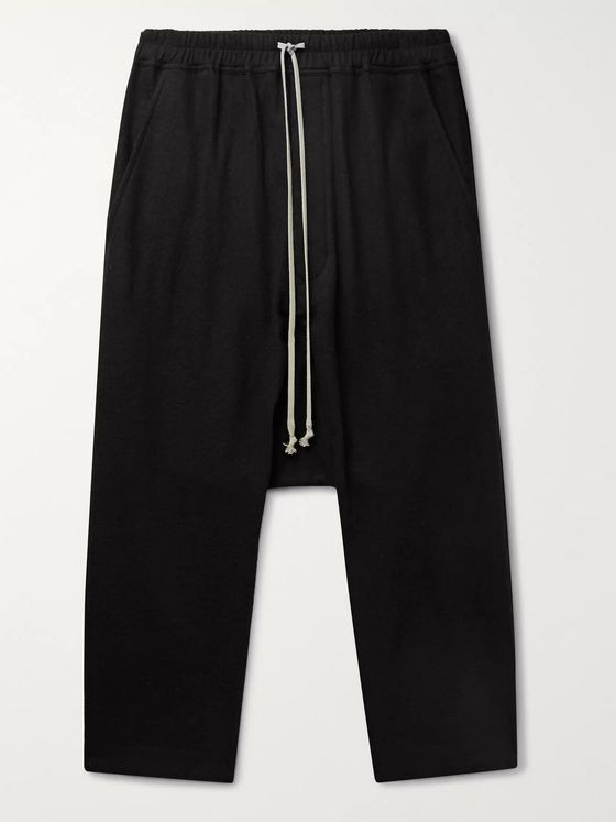 Rick Owens Cotton and Wool-Blend Flannel Drawstring Trousers
