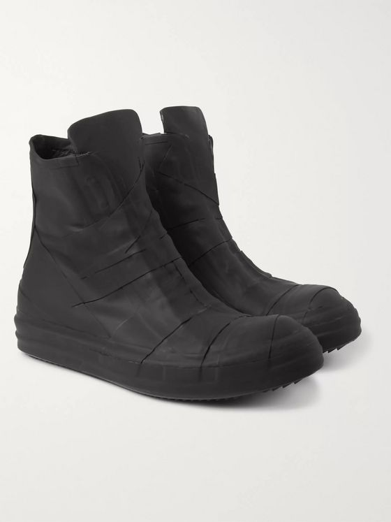 Rick Owens Ramones Coated-Leather High-Top Sneakers