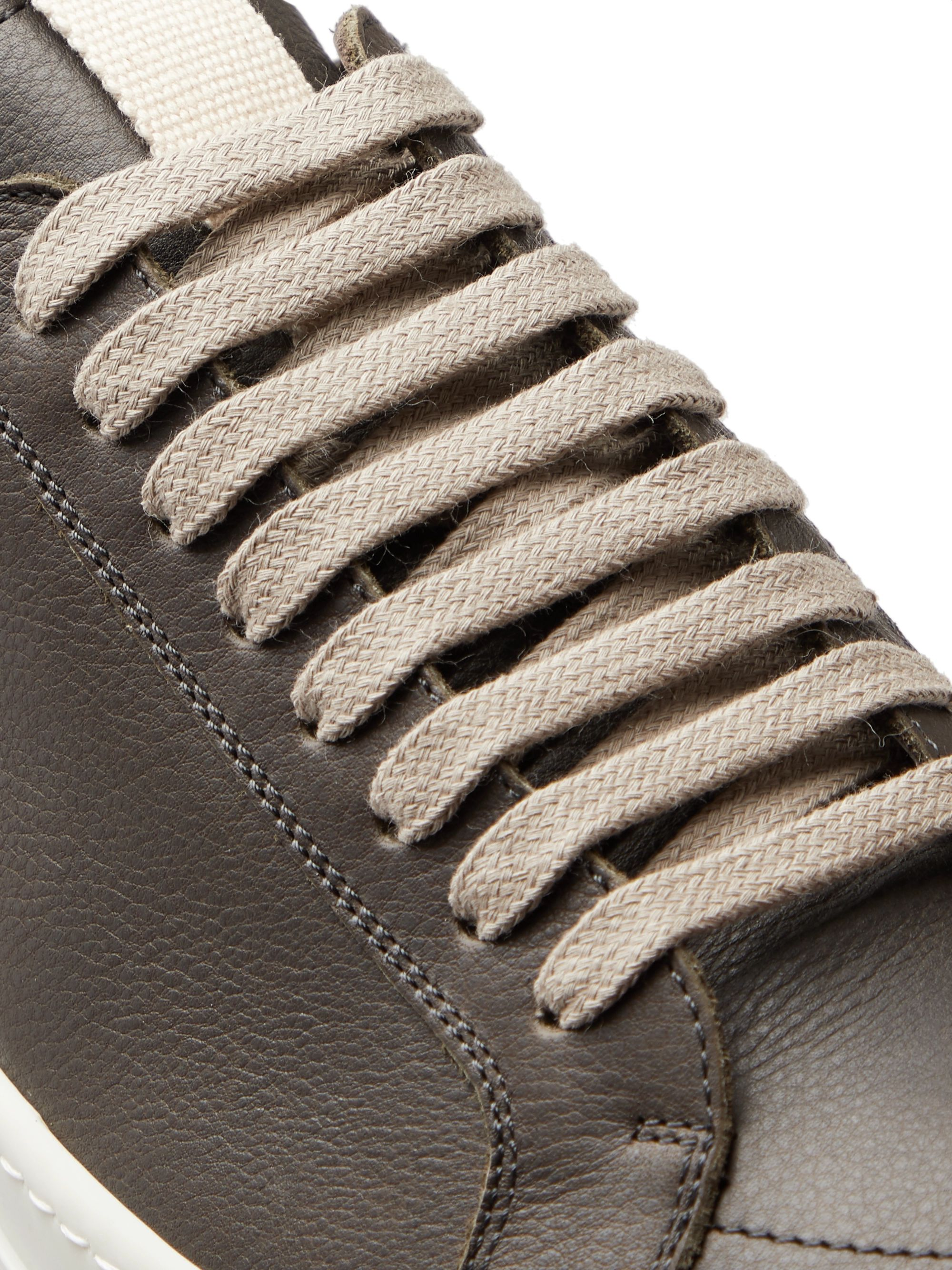Rick Owens Clear Sole Grosgrain-Trimmed Leather Sneakers