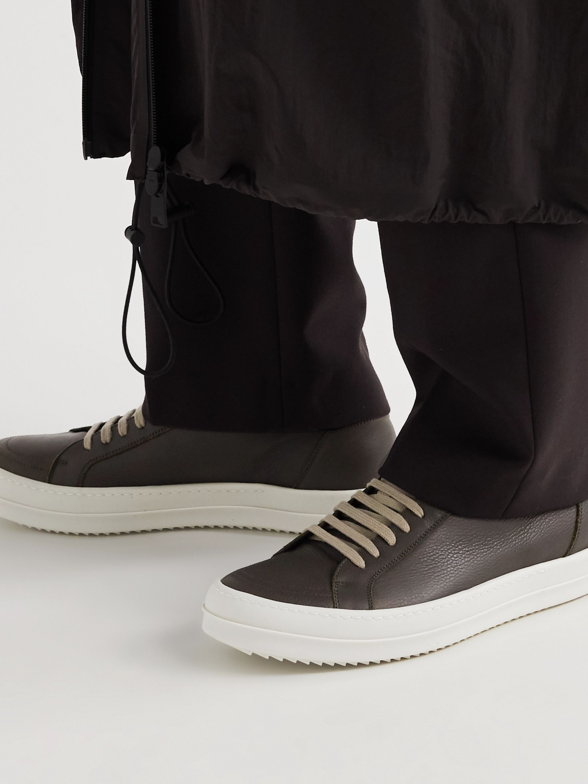 Rick Owens Clear Sole Leather Sneakers