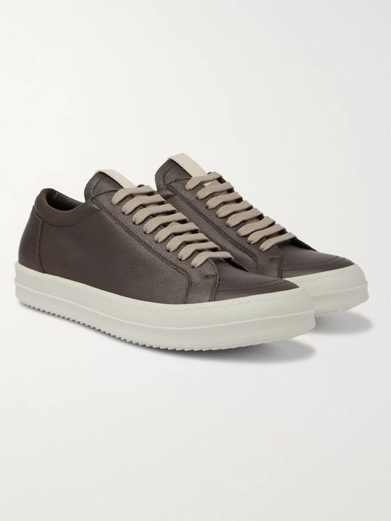 Rick Owens Grosgrain-Trimmed Leather Sneakers
