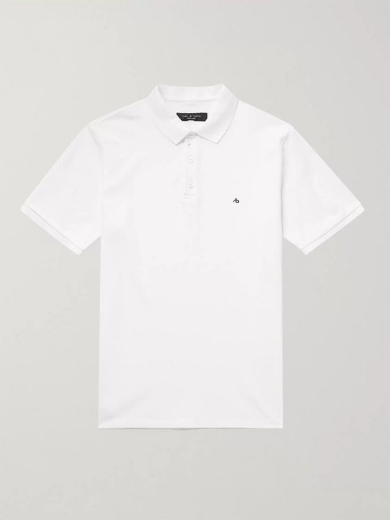 rag & bone Logo-Embroidered Cotton-Piqué Polo Shirt