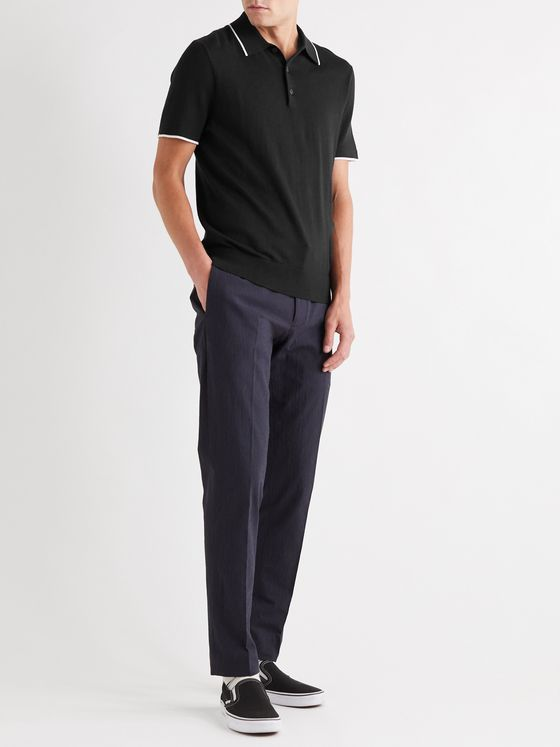 rag & bone Jalen Contrast-Tipped Cotton, Silk and Cashmere-Blend Polo Shirt