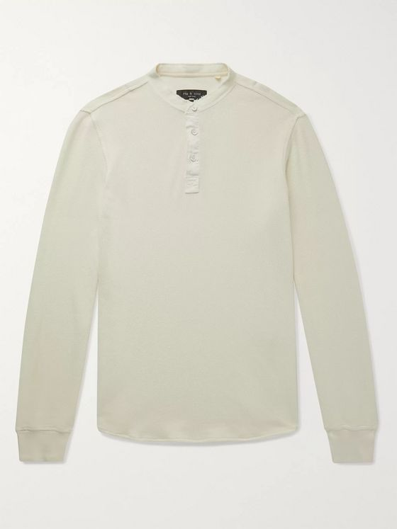 RAG & BONE Baron Honeycomb-Knit Cotton Henley T-Shirt