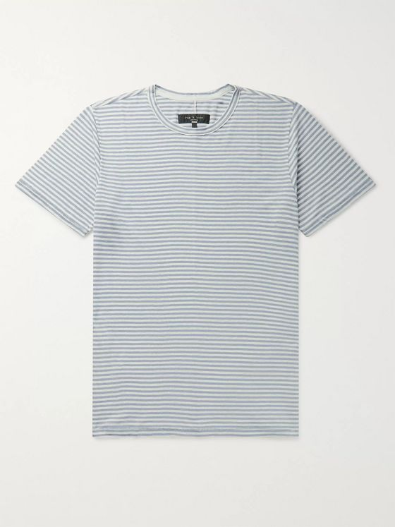 rag & bone Classic Air Striped Linen-Blend T-Shirt